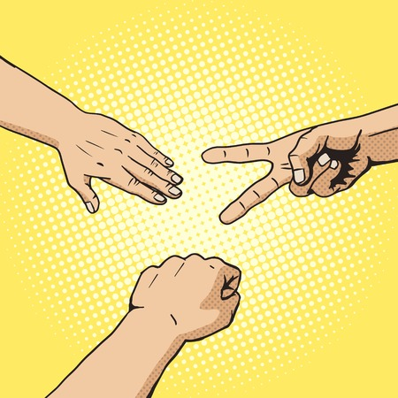 Rock paper scissors hand game pop art style vector. Comic book style imitation. Vintage retro style. Conceptual illustration
