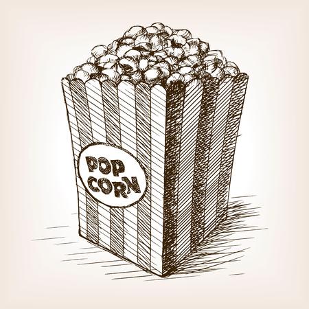 Pop corn schets stijl vector illustratie. Oude hand getekende graveren imitatie. popcorn illustratie