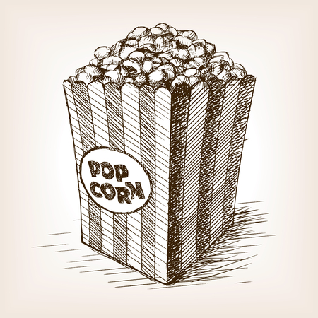 Pop corn sketch style  vector illustration. Old hand drawn engraving imitation. Popcorn illustration Vettoriali