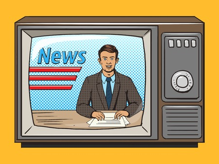 News presenter on tv pop art style vector illustration. Comic book style imitation. Vintage retro style. Conceptual illustration