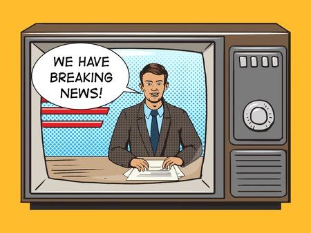 News presenter on tv pop art style vector illustration. Comic book style imitation. Vintage retro style. Conceptual illustration