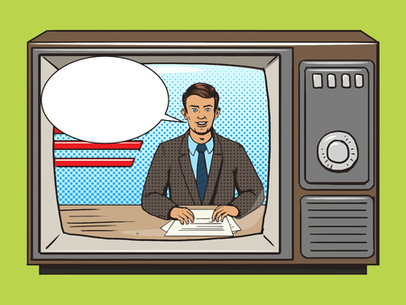 commentator: News presenter on tv pop art style vector illustration. Comic book style imitation. Vintage retro style. Conceptual illustration
