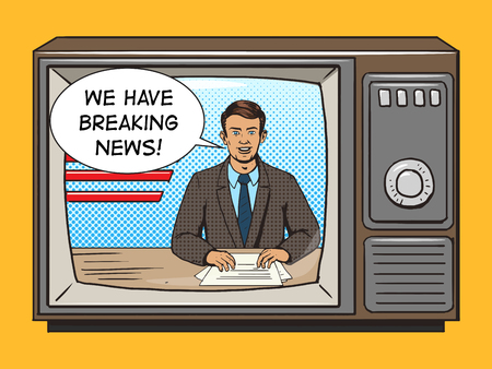 anchorman: News presenter on tv pop art style vector illustration. Comic book style imitation. Vintage retro style. Conceptual illustration