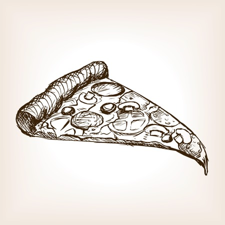 Pizza slice sketch style  vector illustration. Old hand drawn engraving imitation. Loaf of bread illustration Ilustração