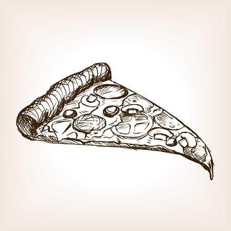 Rebanada de pizza estilo de ilustración vectorial boceto. Vieja mano dibuja la imitación de grabado. Hogaza de pan ilustración