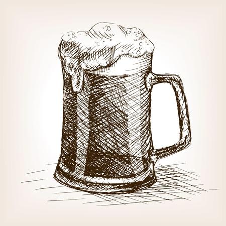 Beer mug schets stijl vector illustratie. Oude gravure imitatie. Bierkop hand getekende schets imitatie