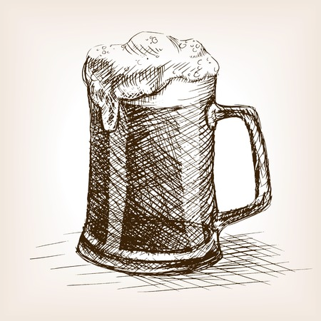 Taza de cerveza ilustración vectorial estilo de dibujo. Grabado antiguo de imitación. Taza de la cerveza boceto dibujado a mano de imitación