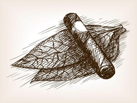 Las hojas de tabaco y la ilustración del vector del estilo del bosquejo de cigarros. Grabado antiguo de imitación. Las hojas de tabaco y dibujado a mano boceto imitación de puros Ilustración de vector