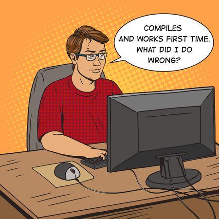 작업 만화 팝 아트 복고 스타일의 벡터 일러스트 레이 션에서 소프트웨어 개발자 코더. 소프트웨어 엔지니어. 만화 스타일의 모방. 빈티지 복고 스타일입니다. 개념 설명