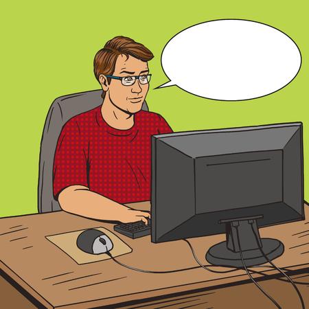 programer: Software developer coder at work comic book pop art retro style vector illustration. Software engineer. Comic book style imitation. Vintage retro style. Conceptual illustration Illustration