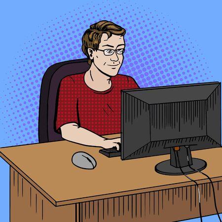 debugging: Software developer coder at work comic book pop art retro style vector illustration. Software engineer. Comic book style imitation. Vintage retro style. Conceptual illustration Illustration