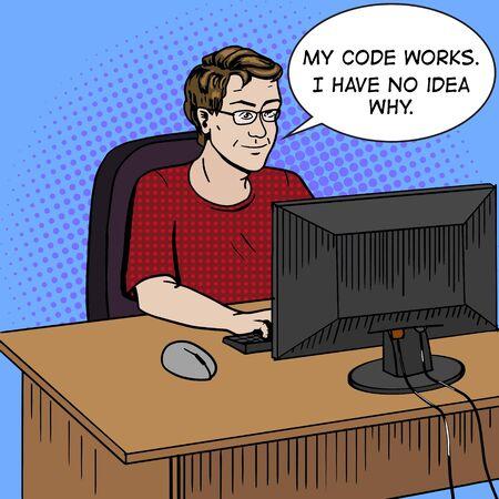 Software developer coder at work comic book pop art retro style vector illustration. Software engineer. Comic book style imitation. Vintage retro style. Conceptual illustration Illustration