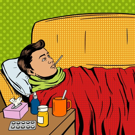 Man suffers cold pop art style vector illustration. Sick man. Man ill with flu. Comic book style imitation. Vintage retro style. Conceptual illustration Stock Illustratie