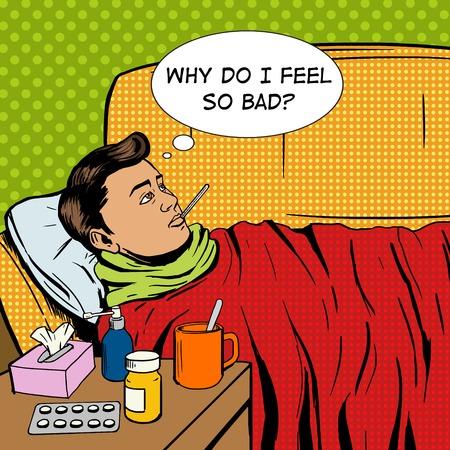 사람은 차가운 팝 아트 스타일 벡터 일러스트 레이 션을 겪고있다. 아픈 사람입니다. 독감에 걸린 사람입니다. 만화 스타일의 모방. 빈티지 복고 스타일입니다. 개념 설명 스톡 콘텐츠 - 52218913