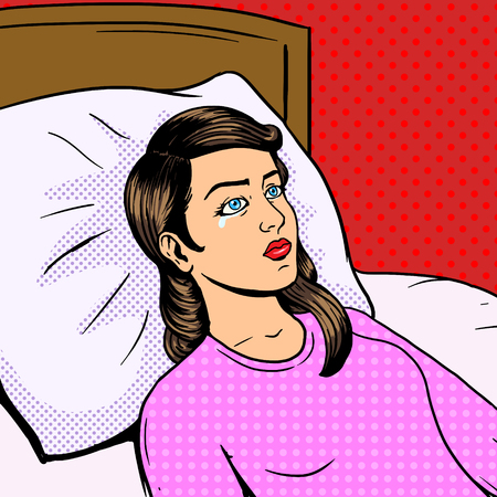 mood: Woman cry on bed pop art style vector illustration. Woman bad mood. Unhappy woman.  Comic book style imitation. Vintage retro style. Conceptual illustration
