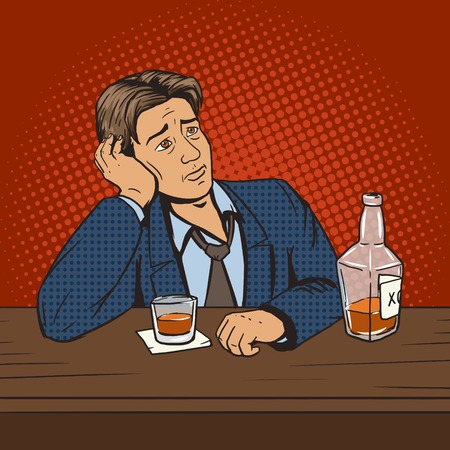feeling bad: Man with bad mood drinks in bar pop art style vector illustration. Comic book style imitation. Vintage retro style. Conceptual illustration Illustration