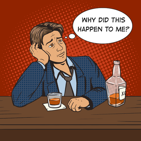 Man with bad mood drinks in bar pop art style vector illustration. Comic book style imitation. Vintage retro style. Conceptual illustration Illustration