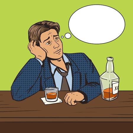bad mood: Man with bad mood drinks in bar pop art style vector illustration. Comic book style imitation. Vintage retro style. Conceptual illustration Illustration