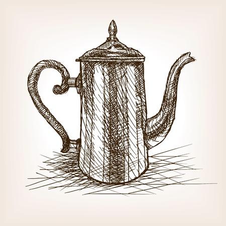 rough draft: Tea pot vintage sketch style vector illustration. Old engraving imitation. Tea pot hand drawn sketch imitation. Illustration