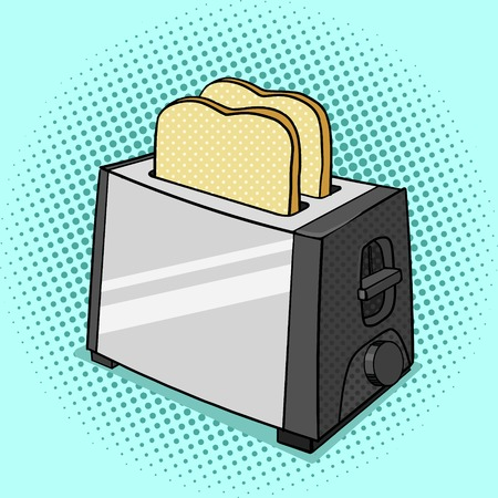 toasted: Toaster with toasts pop art style vector illustration.  Toasted bread. Comic book style imitation. Vintage retro style. Conceptual illustration