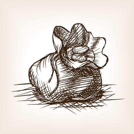 Beutel mit Münzen Skizze Stil Vektor-Illustration. Alte Gravur Nachahmung. Geldbörse mit Münzen Hand gezeichnete Skizze Nachahmung.