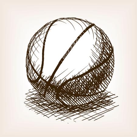 농구 스케치 스타일 벡터 일러스트 레이 션. 오래 된 조각 모방입니다. 농구 공 손으로 그린 스케치 모방입니다.