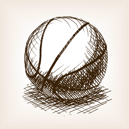 rough draft: Basketball sketch style vector illustration. Old engraving imitation. Basketball ball hand drawn sketch imitation. Illustration