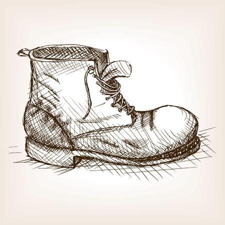 Oude boot schets stijl vector illustratie. Oude gravure imitatie. Ragged boot hand getekende schets imitatie.
