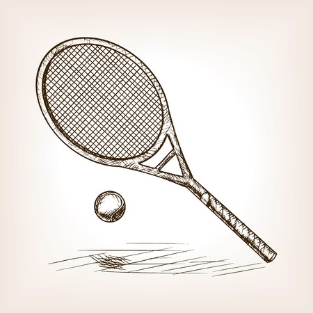 racquet: Tennis racquet and ball sketch style vector illustration. Old engraving imitation. Racquet hand drawn sketch imitation.