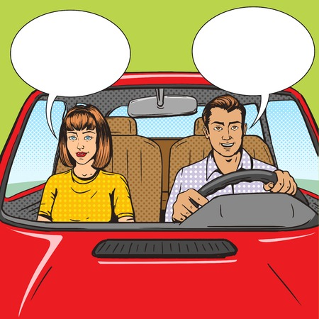 Family couple in car pop art style vector illustration.  Comic book style imitation. Vintage retro style. Conceptual illustration Vettoriali