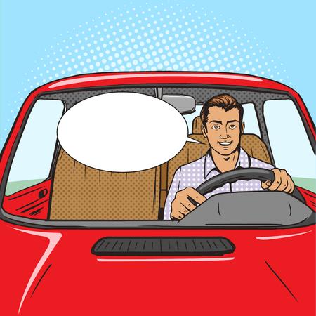 Man drive car pop art style vector illustration. Comic book style imitation. Vintage retro style. Conceptual illustration Vector Illustration