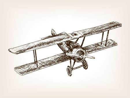 Retro airplane sketch style vector illustration. Old engraving imitation. Retro airplane hand drawn sketch imitation.