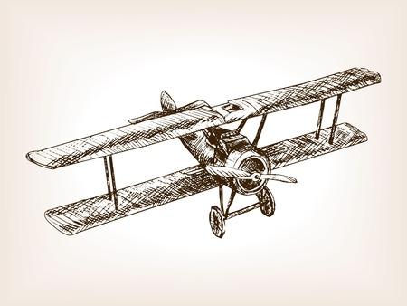 Retro vliegtuig schets stijl vector illustratie. Oude gravure imitatie. Retro vliegtuig hand getekende schets imitatie.