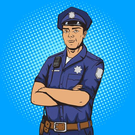 Ilustracja wektorowa stylu pop-artu policjanta. Policjant. Imitacja stylu komiksowego. Vintage w stylu retro. Koncepcyjna ilustracja