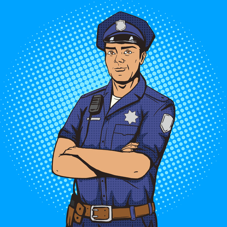 security man: Policeman pop art style vector illustration. Police officer. Comic book style imitation. Vintage retro style. Conceptual illustration