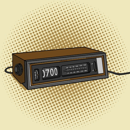 toasted bread: Alarm radio clock pop art style vector illustration.  Toasted bread. Comic book style imitation. Vintage retro style. Conceptual illustration Illustration