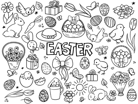 cartoon easter basket: Easter elements line art style vector illustration. Colorless abstract easter design