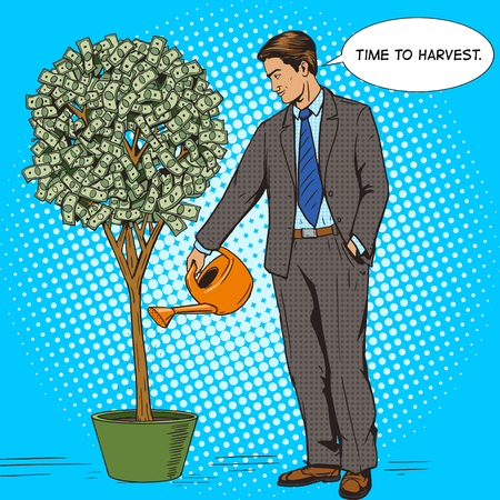money tree: Businessman water money tree pop art style vector illustration. Human illustration. Comic book style imitation. Vintage retro style. Conceptual illustration Illustration