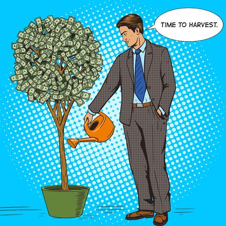 plant tree: Businessman water money tree pop art style vector illustration. Human illustration. Comic book style imitation. Vintage retro style. Conceptual illustration Illustration