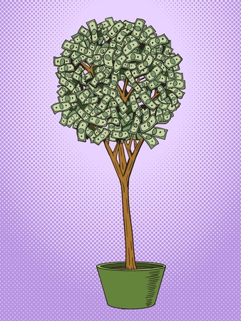 tree leaf: Money tree pop art style vector illustration. Dollar tree. Comic book style imitation. Vintage retro style. Conceptual illustration