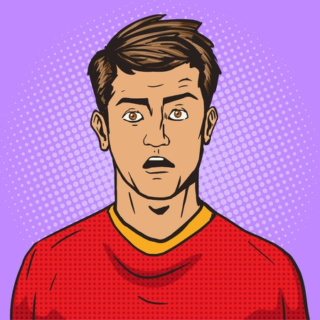 manly: Surprised man pop art retro style vector illustration. Comic book style imitation. Vintage retro style. Conceptual illustration