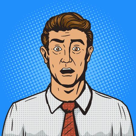 ilustración del vector del estilo del arte pop retro hombre sorprendido. Cómica imitación del estilo del libro. estilo retro de la vendimia. ilustración conceptual Ilustración de vector
