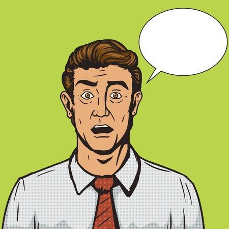 ilustración del vector del estilo del arte pop retro hombre sorprendido. Cómica imitación del estilo del libro. estilo retro de la vendimia. ilustración conceptual