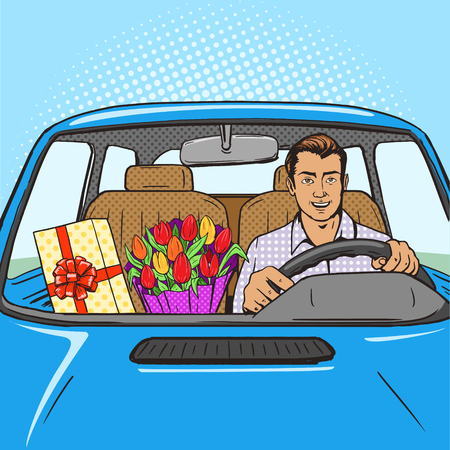 flower designs: Man with gift and flowers drive car pop art style vector illustration.  Comic book style imitation. Vintage retro style. Conceptual illustration