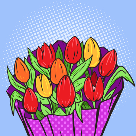 poster art: Flowers bouquet pop art style vector illustration. Comic book style imitation. Vintage retro style. Conceptual illustration