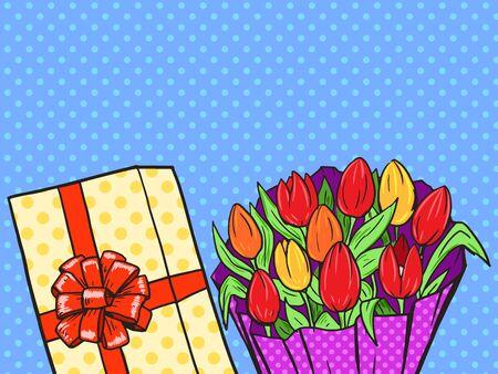 bouquet fleur: Fleurs bouquet vecteur de style pop art illustration. Comic imitation de style livre. Vintage style r�tro. illustration conceptuelle