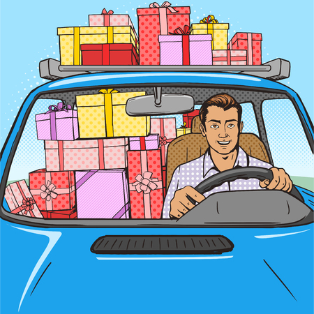 cartoon strip: Man with gifts boxes drive car pop art style vector illustration.  Comic book style imitation. Vintage retro style. Conceptual illustration
