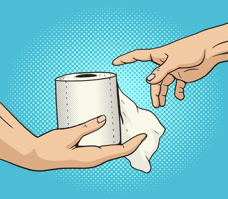 toilet paper art: Hand gives a toilet paper to other hand pop art style vector illustration. Comic book style imitation. Classic art painting imitation. Funny image with toilet paper
