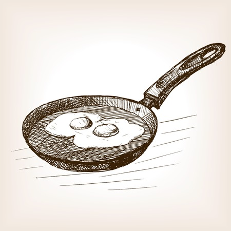 pan: Pan with eggs sketch style vector illustration. Old engraving imitation. Pan with eggs hand drawn sketch imitation