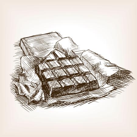 Reep chocola schets stijl vector illustratie. Oude gravure imitatie. Chocolade hand getekende schets imitatie